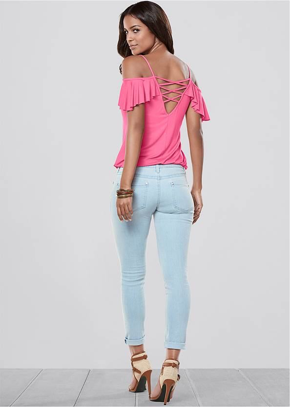 Back View Ruffle Cold Shoulder Top