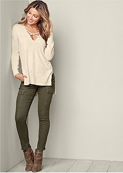 v-neck side slit sweater