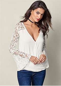 lace sleeves surplice top