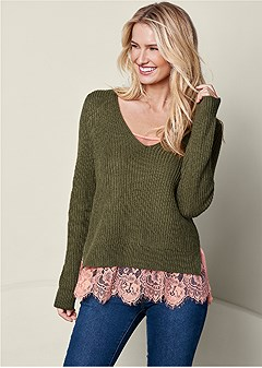 sweater lace cami twofer