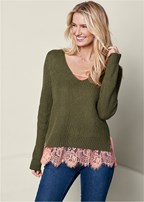 sweater & lace cami twofer