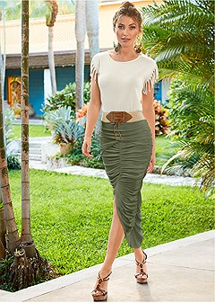 ruched belted maxi skirt