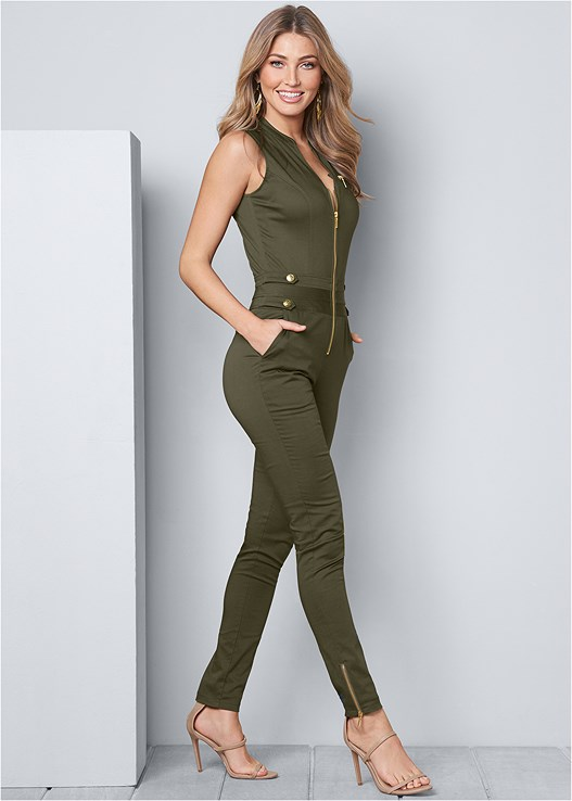 5ec23ff5137 BUTTON DETAIL JUMPSUIT in Olive