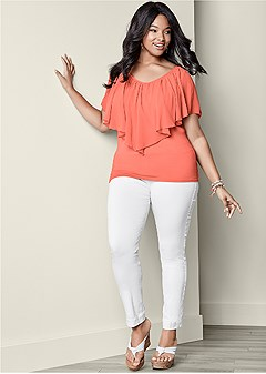 plus size cold shoulder flutter top