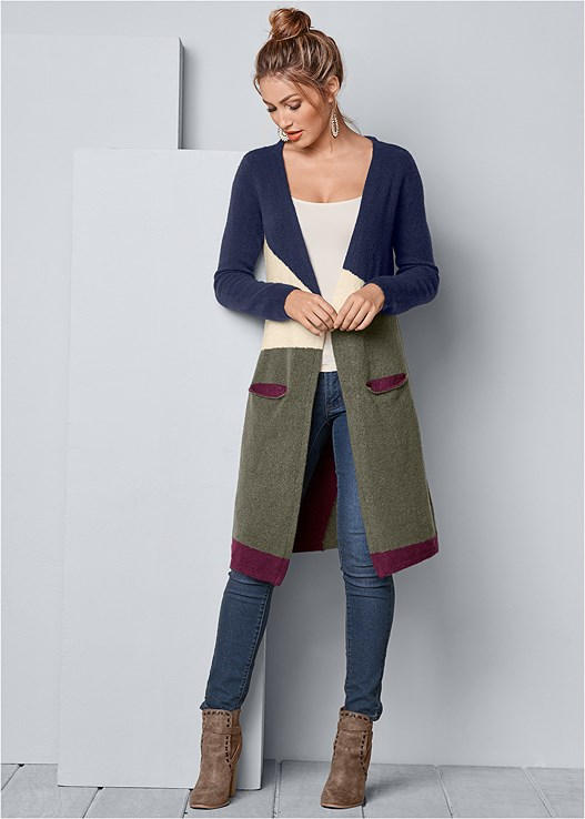 COLOR BLOCK CARDIGAN,SEAMLESS CAMI,COLOR SKINNY JEANS,EVERYDAY YOU WIRELESS BRA,WRAP STITCH DETAIL BOOTIES,BEADED DROP EARRINGS