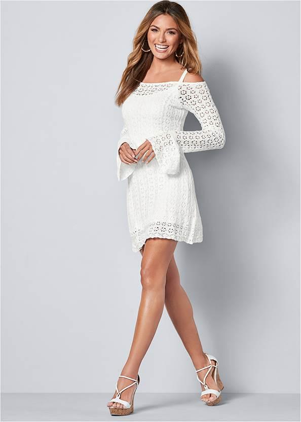 Back view Cold Shoulder Crochet Dress
