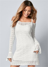 Front view Cold Shoulder Crochet Dress