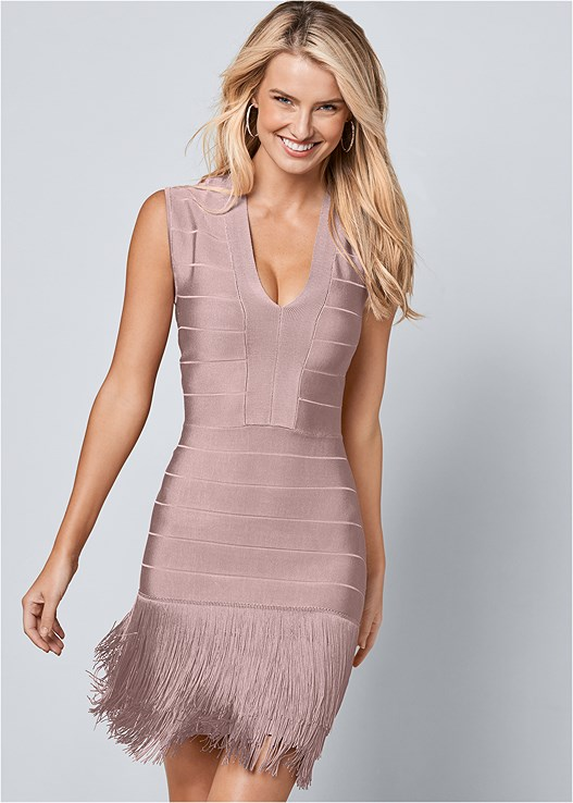 BANDAGE FRINGE DRESS,HIGH HEEL STRAPPY SANDALS,CONFIDENCE TUMMY SHAPER