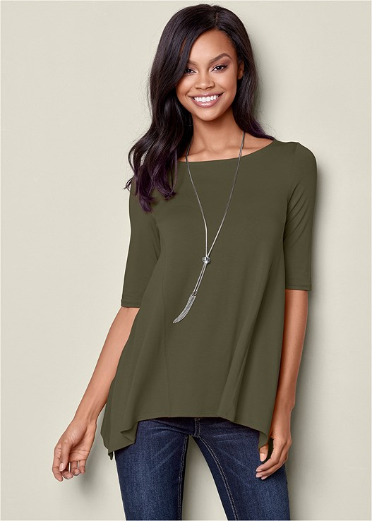 BOAT NECK A-LINE TOP,WRAP STITCH DETAIL BOOTIES