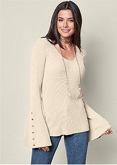 snap up bell sleeve sweater