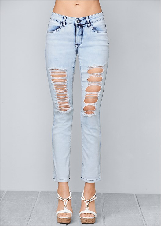 RIPPED JEANS,BRAIDED DETAIL WEDGE
