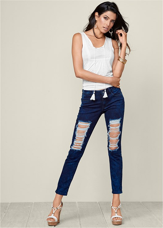 RIPPED JEANS,BRAIDED DETAIL WEDGES