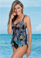shark bite hem tankini top