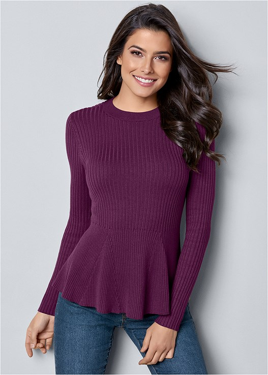 RIBBED PEPLUM SWEATER,COLOR SKINNY JEANS,BUCKLE RIDING BOOT