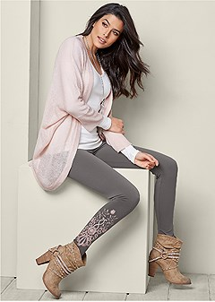 embroidered detail leggings
