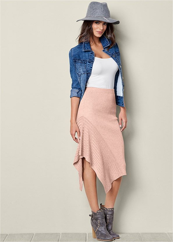 Sweater Asymmetrical Skirt,Ribbed V-Neck Top,Jean Jacket,Wrap Stitch Detail Booties
