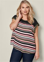 plus size striped peekaboo back top