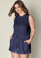 plus size lace trim romper