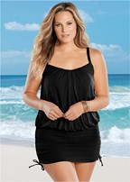 plus size blouson one-piece