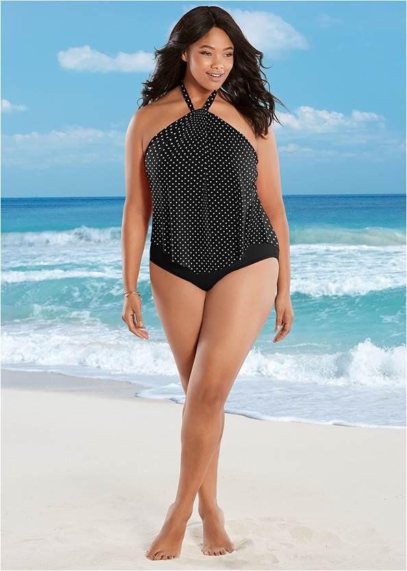 High Neck Flounce One-Piece,Deep V Cover-Up Beach Dress,Wrap Kimono Cover-Up
