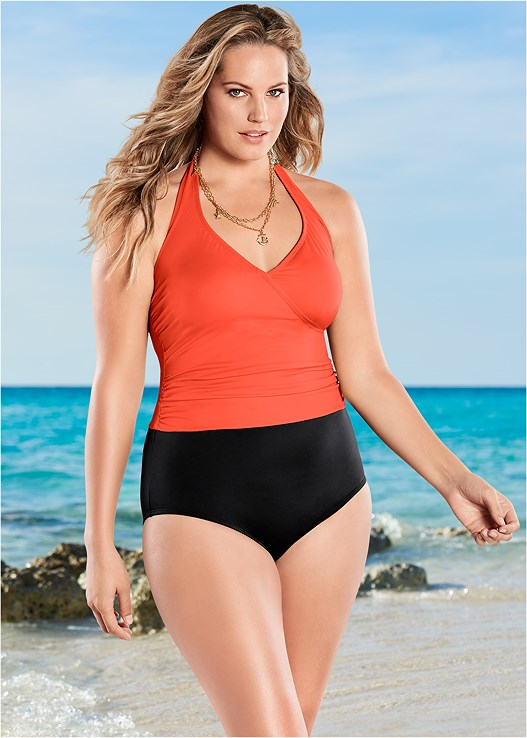 c9b8732f0b687 Plus Size WRAP FRONT HALTER ONE-PIECE