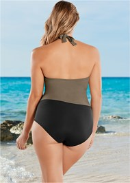 Back View Wrap Front Halter One-Piece