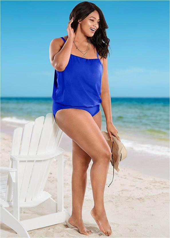 Blouson Bandeau Bikini Top,Full Coverage Mid Rise Hipster Bikini Bottom,Adjustable Side Bottom,Adjustable Side Swim Short