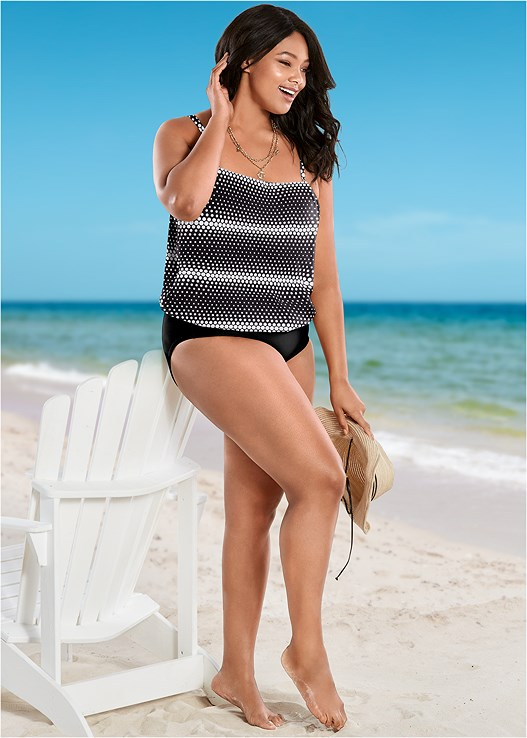 9a233dd603 Plus Size BLOUSON TANKINI TOP in Spot The Dot