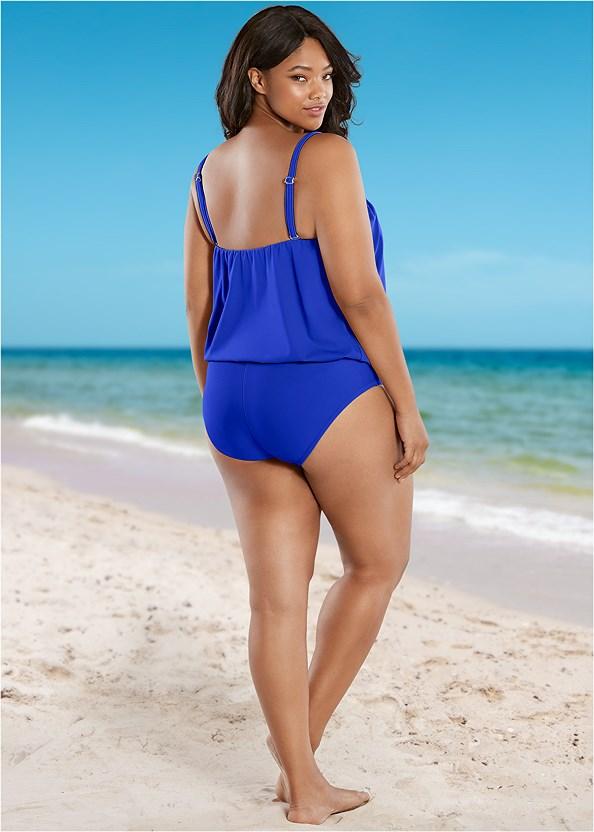 Full Coverage Mid Rise Hipster Bikini Bottom,Blouson Bandeau Tankini Top