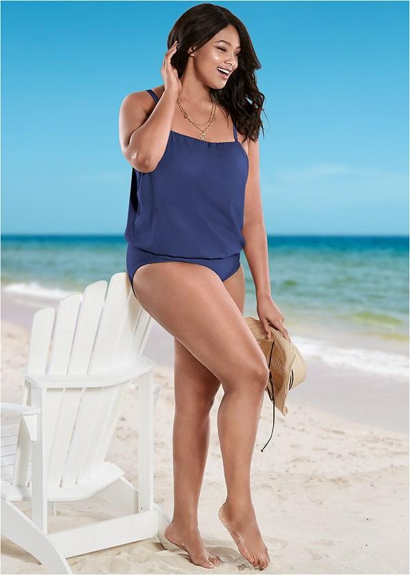 Blouson Bandeau Bikini Top,Full Coverage Mid Rise Hipster Bikini Bottom,Adjustable Side Swim Short,Adjustable Side Bottom,Lattice Side Bikini Bottom