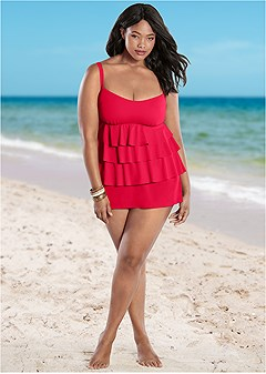plus size tiered ruffle tankini top