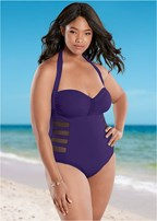 plus size mesh side one-piece