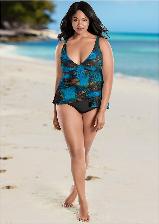 FLYAWAY TANKINI TOP,HIGH WAIST FULL CUT BOTTOM