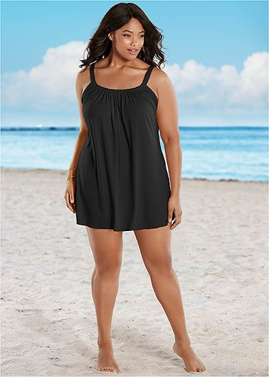 Plus Size Gathered Neckline Cover-Up Dress