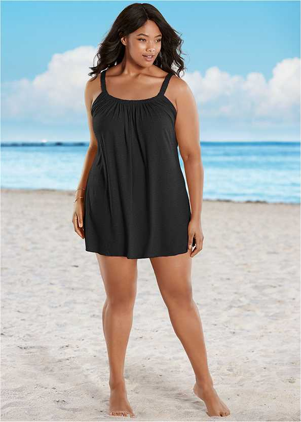Gathered Neckline Cover-Up Dress,Lovely Lift Wrap Bikini Top,Adjustable Side Swim Short,The Aloha One-Piece,Shell Detail Sandals