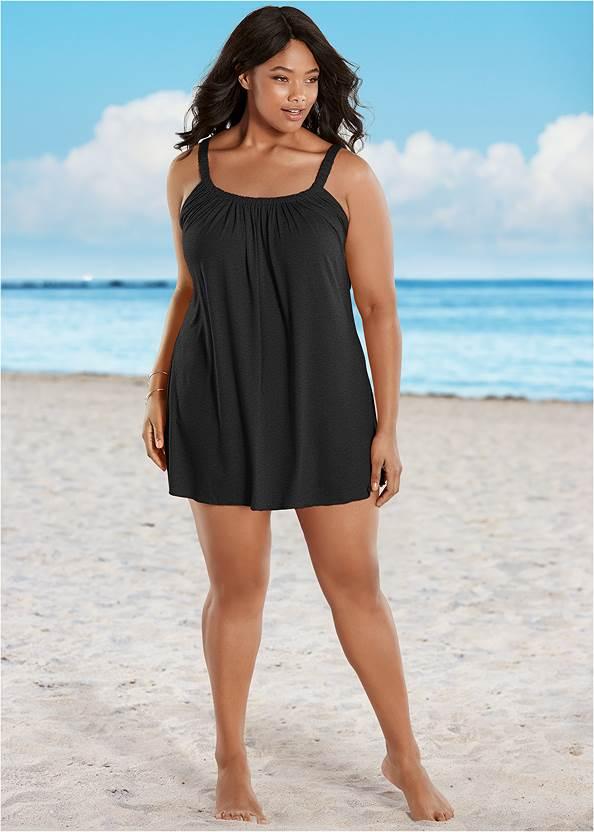 Gathered Neckline Cover-Up Dress,Lovely Lift Wrap Bikini Top,Adjustable Side Swim Short