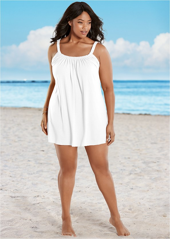 Gathered Neckline Dress,Crisscross One-Piece,Studded Flip Flops