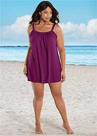 Front view Gathered Neckline Cover-Up Dress
