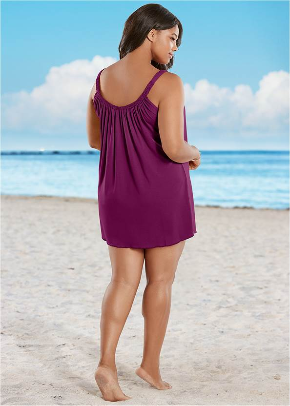 Back view Gathered Neckline Cover-Up Dress