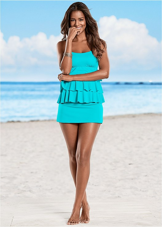 TIERED RUFFLE TANKINI TOP,SKIRTED SWIM BIKINI BOTTOM