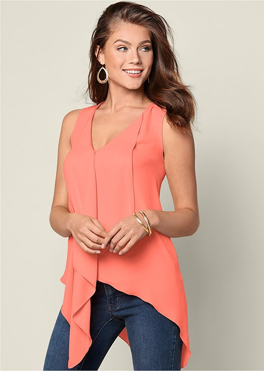 RUFFLE FRONT BLOUSE,COLOR SKINNY JEANS,BRAIDED DETAIL WEDGE