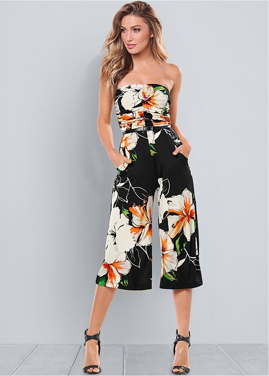 STRAPLESS CULOTTE JUMPSUIT,CONVERTIBLE LACE PUSHUP BRA,BRAIDED DETAIL WEDGES