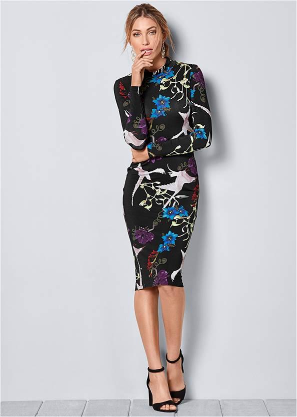 Long Sleeve Printed Dress,Coin Tassel Earrings,Ring Detail Oversized Bag