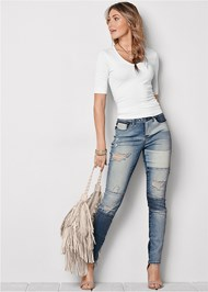 Front View Distressed Patchwork Jeans