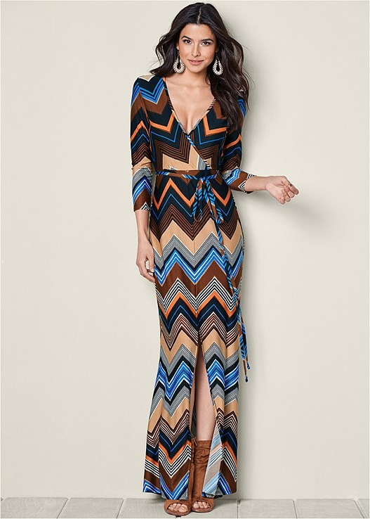 FAUX WRAP MAXI DRESS,OPEN HEEL BOOTIE