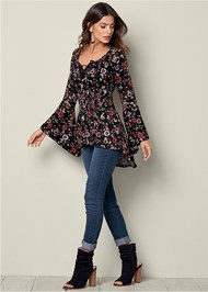 Front View Lace Up Smocked Waist Top