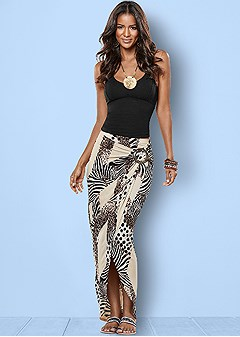 animal print surplice skirt