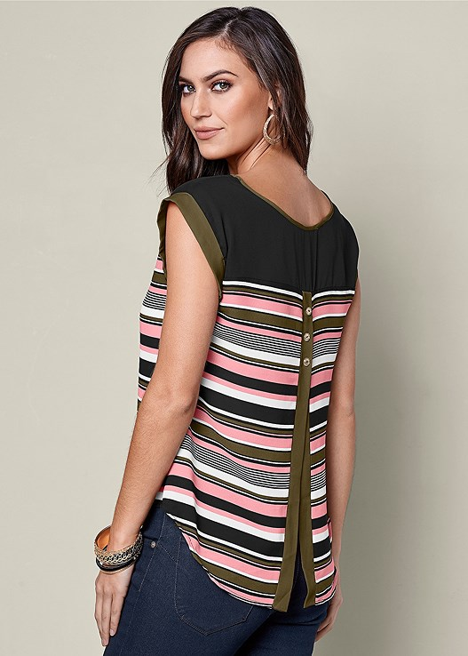 STRIPED PEEKABOO BACK TOP