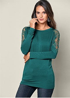 lace inset scoop neck top
