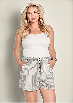 plus size tie detail stripe shorts